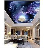 Mznm 3D Photo Wallpaper 3D Ceiling Wallpaper Murals The Universe Star Ceiling Frescoes Wall Paper 3D Sitting Room Wallpaper-280X200Cm