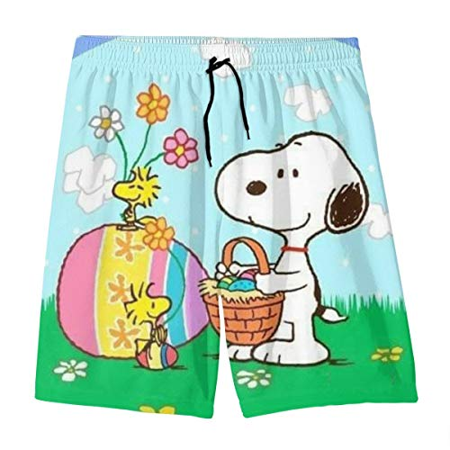 Rainbow Snoopy Teenager Shorts Boy and Girl Swimming Shorts Mesh Lined Beach Pants-X-Large