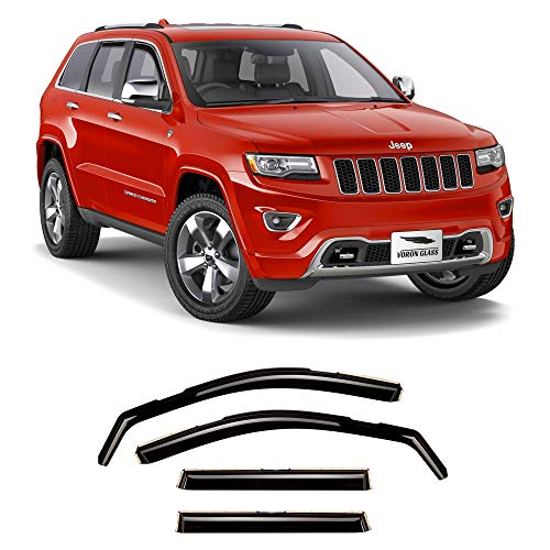 Voron Glass in-Channel Extra Durable Rain Guards for Jeep Grand Cherokee 2011-2020, Window Deflectors, Vent Window Visors, 4 Pieces - 220125 Idaho