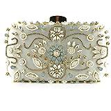 Huaduo Bolso de noche para mujer, con perlas de cristal, para fiestas, bodas, bandolera, estilo retro