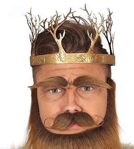 shoperama Corona de metal dorado con árboles, rey reina, bosque, Halloween, adultos, hombre y mujer.