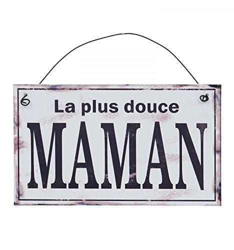 L'Esprit Des Anges Plaque Métal Murale Décorative Vintage Douce Maman 17 x 10 cm