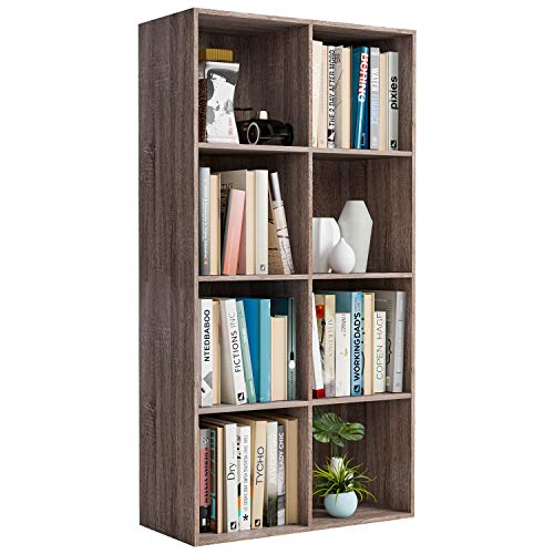 Homfa Bookshelf 4-Tier Bookcase 8 Cube Modular Storage Organizer Cabinet Modern Home Office Furniture (Dark Oak)