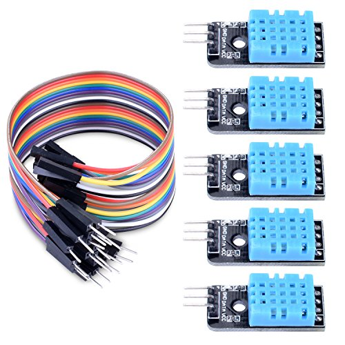 Longruner 5 PCS Temperature Humidity Sensor Module DHT11 with 20PIN Male to Female DuPont Jump Wires Cable with ArduinoIDE MEGA 2560 with Raspberry pi 3 2 1 model B 2B A+ RPI Zero LK03