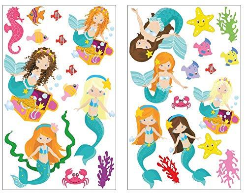 Samunshi® 28x Wandtattoo Meerjungfrau und Tiere Set Wandbilder Kinderzimmer Deko Junge Wandtattoo Kinderzimmer Mädchen Wandsticker 2X 16x26cm