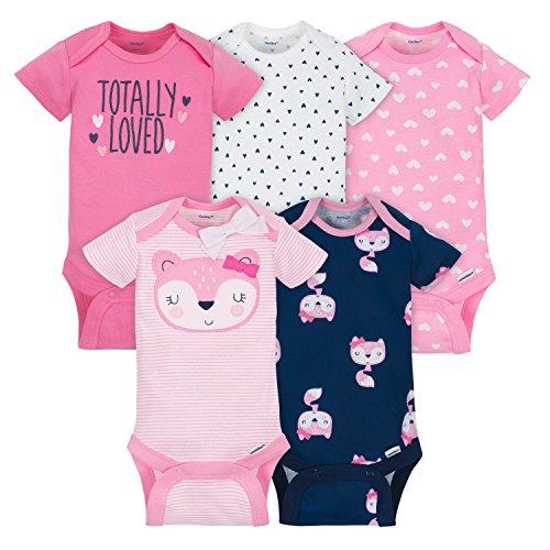 Gerber Baby 5 Pack Onesies, Pink Fox, 0-3