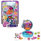 Polly Pocket Cofre playa delfín, muñeca con accesorios, juguete +4 años (Mattel GTN20)