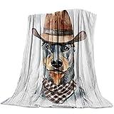 Hirkeld Manta para niños Adultos Suave al Tacto Mantas de Cama Perro Divertido Animal Dobermann Patrón Mantas para Dormitorio Sala de Estar Sofá Sofá Colección para el hogar