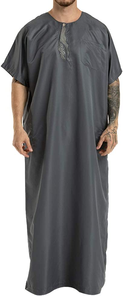 Islamic Thobe Round Collar Embroidery Short Sleeve Middle Eastern Arab Muslim Wear Robe Clothes for Men Size M (Grey)