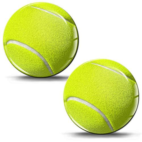 SkinoEu® 2 x Aufkleber 3D Gel Silikon Stickers Sport Tennis Ball Aufkleber Auto Moto Motorrad Fahrrad Skate Fenster Tür PC Tablet Laptop KS 41
