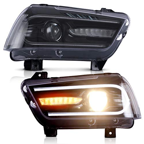 VLAND Headlight Assembly Fit for Dodge Charger 2011 2012 2013 2014, LED Headlamp Assembly with DRL Sequential Turn Signal, Plug-and-play
