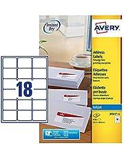 Avery Dennison Inkjet Labels - Paquete de 450 etiquetas de dirección (63.5 x 46.6 mm), blanco