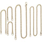 5 Pieces Replacement Flat Chains Iron Bag Chains Handbag Chain Straps Purse Chain Bag Strap Replacement Chain Purse Link Chains with Metal Slide Hook Buckles for DIY Handbags Crafts, 4 Sizes