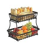 Apsan 2 Tier Fruit Storage Basket Countertop for Kitchen, Bread Vegetable Fruit Basket Bowl Stand Detachable Metal Rectangular Wire Basket, Black Medium