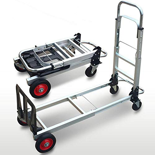 MIZE Aluminum Alloy Folding Folding Trolley with Wheels With Anti Puncture Rubber Silent Wheel and 200 kg Capacity,Silver Hand Trucks for Travel, Business Trip, Outing