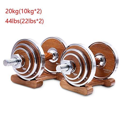 Halters Gegalvaniseerd Pure Steel Dumbbell 10 * 2kg Men's Fitness Trainingsmatten Arm Walnut Wood Handle Halters met dienblad Indoor fitness (Size : 20kg(10 * 2))
