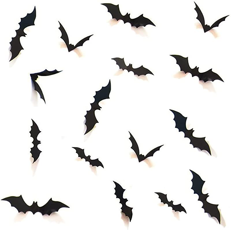 HOZZQ DIY Halloween Party Supplies PVC 3D Decorative Scary Bats Wall Decal Wall Sticker Halloween Eve Decor Home Window Decoration Set 28pcs Black