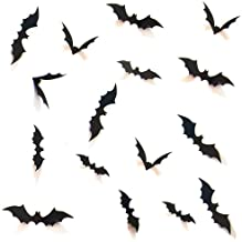 HOZZQ DIY Halloween Party Supplies PVC 3D Decorative Scary Bats Wall Decal Wall Sticker, Halloween Eve Decor Home Window Decoration Set, 28pcs, Black