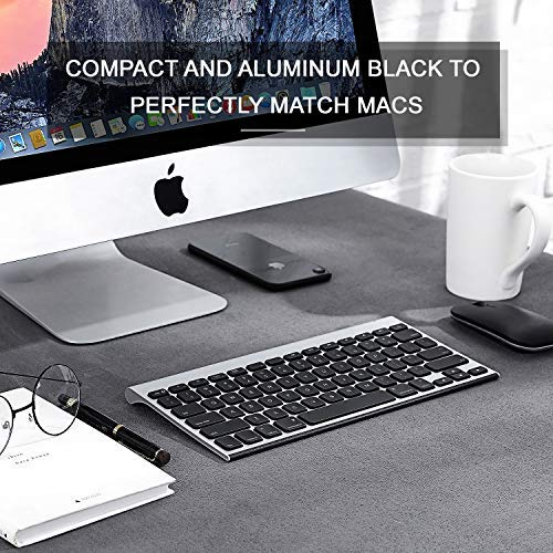 Rechargeable Bluetooth Keyboard for MacOS, Jelly Comb 009E Compact Wireless Keyboard Compatible for MacBook, MacBook Air, MacBook Pro, iMac, and iMac Pro (Black Silv   er)