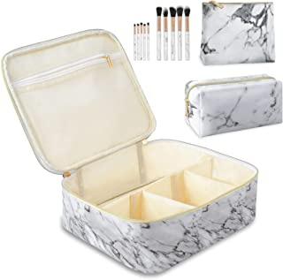 3PCS Makeup Bags for Women with 10 Pcs Brushes, Portable Travel Cosmetic Bagfor Accessories, Waterproof Marble Large Orga...