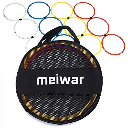 Anelli di coordinazione | Set di 12 cerchi di coordinazione in bianco, giallo, rosso, blu | Anelli di agilità per allenamento negli sport come Calcio, Atletica o per cani | Ruote da fitness con borsa