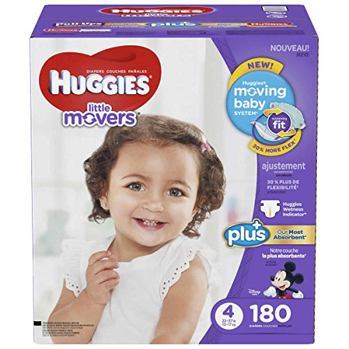 Price comparison product image Huggies Little Movers Plus Diapers Size 4,  180 Count