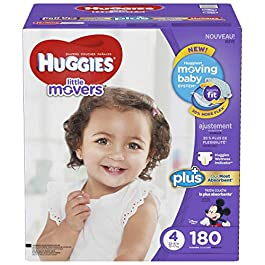 Huggies Little Movers Plus Diapers Size 4, 180 Count