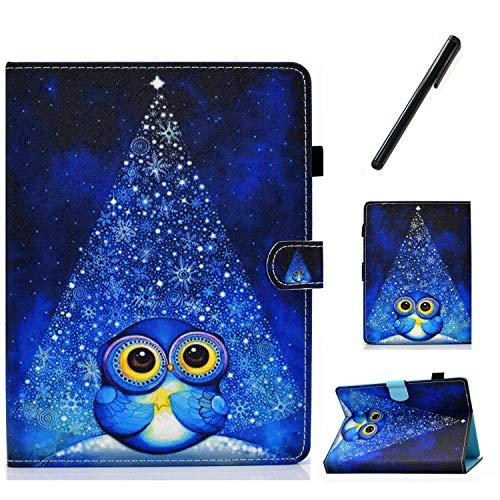 HereMore Universal Case for 8 Inch Tablet with Pen, Leather Stand Cover Protective Shell for Fire HD 8,Huawei MediaPad T3 8,Samsung Galaxy Tab A8, Acer Iconia One 8 B1-870,Lenovo Tab E8, Owl