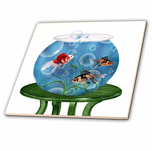 3dRose CT 101832_ 2Goldfish in Einer Schüssel auf einem kleinen Tisch für Persisch NEU Year-Ceramic Fliesen, 6