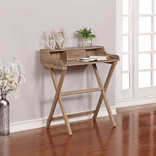 Linon Home Décor Griffin Gray Wash Folding Desk Escritorio, Madera, Gris