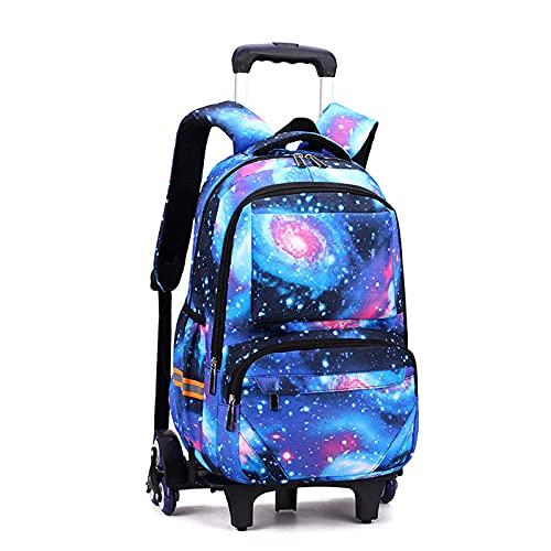 Mochila infantil con ruedas, gran capacidad Starry Sky Rolling School Bag con 6 ruedas, mochila desmontable con ruedas puede subir escaleras ZJ666 (color: azul)