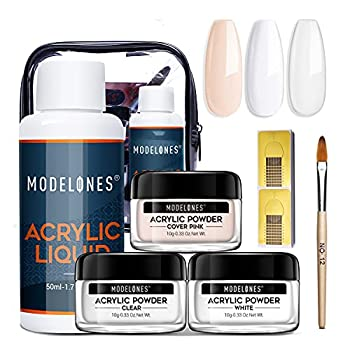 Modelones Acrylic Powder with Professional Liquid Monomer for Nail Extension Clear/White/Nude All in One Kit with Carrier Bag Acrylic Nail Brush Nail Form No Need Nail Lamp MMA Free Monomer