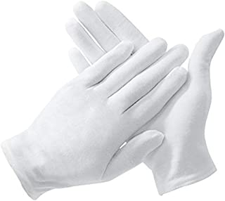 Eyech 15 Pairs White Cotton Gloves 8.1 Inches Large Size Work Gloves for Coin Jewelry Silver Inspection or for Doorman Policeman Dress-Soft Cotton Unisex Gloves