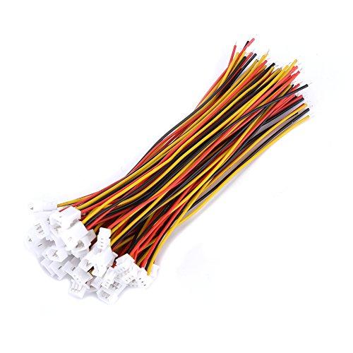 20 Stücke JST 1,25mm Steckverbinder 3-Pin Micro Elektrische Stecker und Buchse Stecker mit Kabeln 100mm(3-polig)