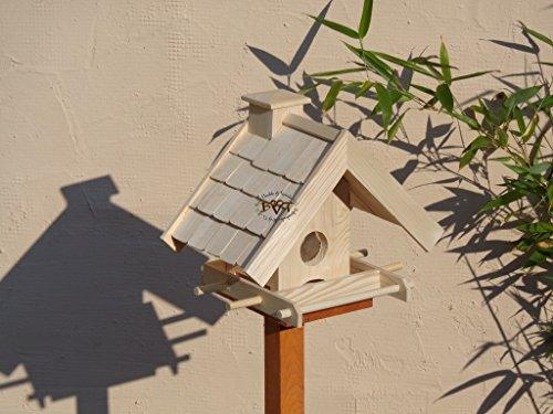 Vogelfutterhaus,BEL-X-VOWA3-natur002 Großes Vogelhäuschen + 5 SITZSTANGEN, KOMPLETT mit Futtersilo + SICHTGLAS für Vorrat PREMIUM Vogelhaus – ideal zur WANDBESTIGUNG – vogelhäuschen, Futterhäuschen WETTERFEST, QUALITÄTS-SCHREINERARBEIT-aus 100% Vollholz, Holz Futterhaus für Vögel, MIT FUTTERSCHACHT Futtervorrat, Vogelfutter-Station Farbe natur, MIT TIEFEM WETTERSCHUTZ-DACH für trockenes Futter - 4