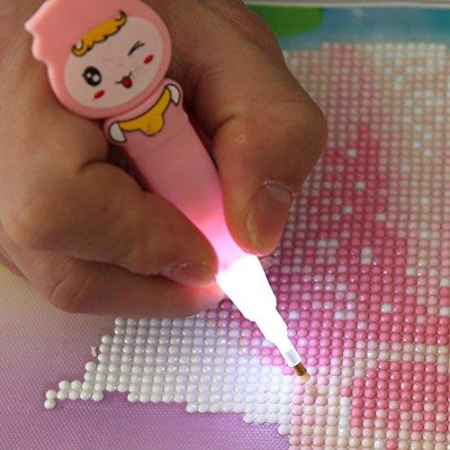 """Leuchtstift für Strassstein-/Diamant-Stickerei """"5D Diamant Stylus"""" von squarex - mit Zeichentrickfigur-Motiv, für Diamant-Stickerei (Diamond Painting), Kreuzstich, rose, AS SHOW"""
