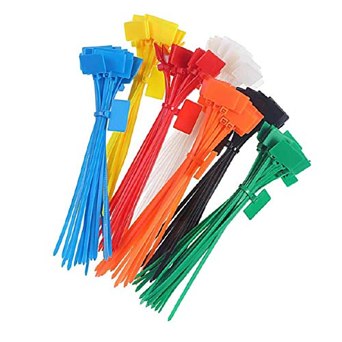 Plastic Ties Reusable Fastening Cable 4x150mm Markers Tag Self Locking Color 250pcs