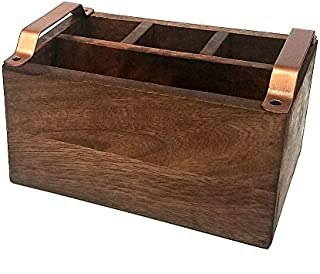 Mountain Woods Brown 4 Compartment Condiment Caddy w/Copper Handles - 9.125