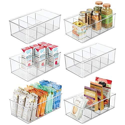 mDesign Plastic Food Storage Organizer Bin Box - 4 Divided Sections - Holder for Seasoning Packets Pouches Soups Spices Snacks for Kitchen Pantry Cabinet Refrigerator - 6 Pack - Clear