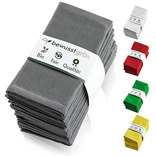 BewusstGrün I 12 Faire & Nachhaltige Stoffservietten + Faltanleitungen I 100% Bio-Baumwolle I 45x45 cm Grau
