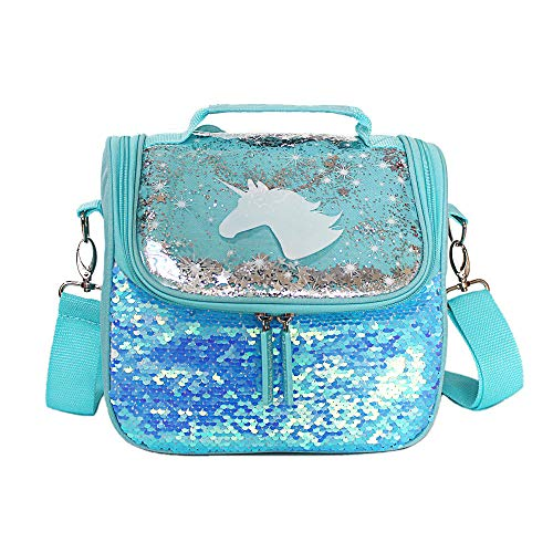Unicorn Lunch Bag for Girls Sequin Lunch Box for School with Adjustable Detachable Strap