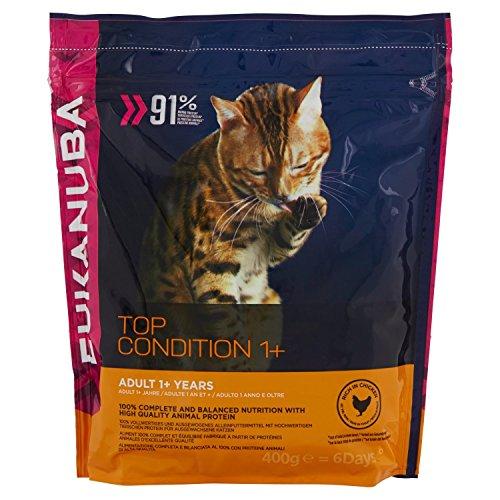 Eukanuba Premium Katzenfutter für Katzen ab 1 Jahr, Trockenfutter mit Huhn (1 x 400 g)