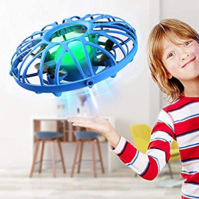 EACHINE E111 UFO Flying Ball Drone for Kids Blue Hand Operated Induction Levitation UFO Mini Drone Easy Play Indoor and Outdoor Scoot Hover Drone Helicopter Toy for Boys and Girls Gift