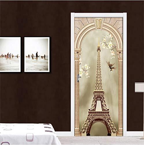 COOLINGSOAP Papel Pintado de la Torre clásica 3D DIY PVC Etiqueta de la Puerta de la Pared Mural Poster 2 unids/Set Etiqueta de Puerta Impermeable Película autoadhesiva Decor90x200cm
