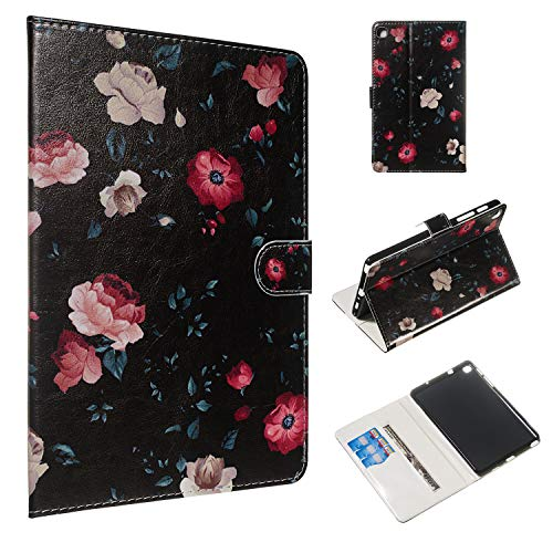 ShinyCase Flip Case Samsung Galaxy Tab A 8.0 with S Pen 2019 SM-P200 P205, PU Leather Cover Stand Function Support Holder Card Slot Magnetic Closure Shockproof Protection Bumper Tablet Black Case Rose