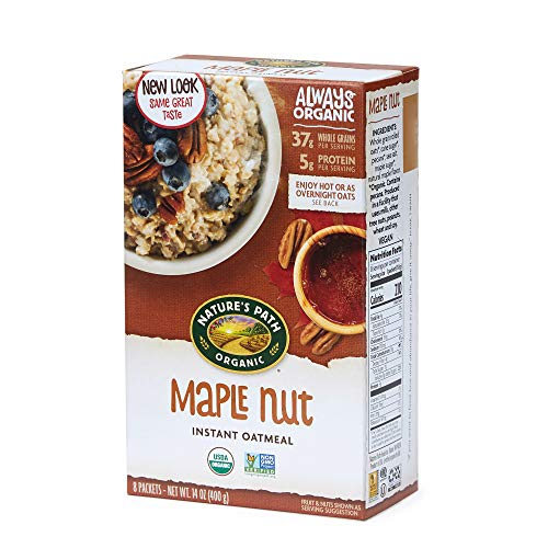 Nature's Path Organic Instant Oatmeal, Maple Nut, 48 Packets (Pack of 6, 14 Oz Boxes)