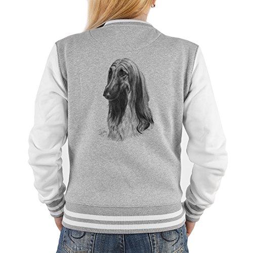 Goodman Design Windhund Damen Jacke - College Jacke Frauen : Afghanischer Windhund - Collegejacke Damen/Mädchen Farbe: grau Gr: XL