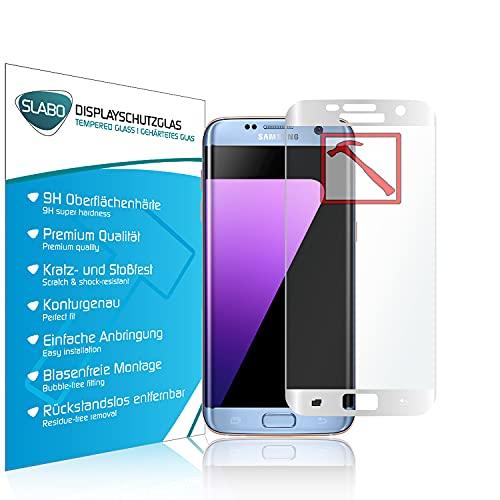 Slabo Premium Pellicola Protettiva in Vetro Temperato per Samsung Galaxy S7 Edge Full Cover Pellicola Protettiva Schermo Tempered Glass Crystal Clear - Graffi Fino a 9H - Cornice Bianco