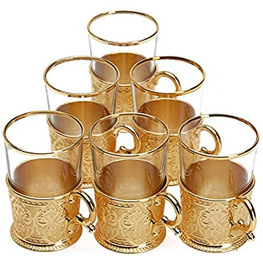 6 X Turkish Style Tea Glasses Set with Holders Spoons, XL 6.6 Ounce