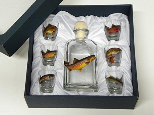 GTK - Geweihe & Trophäen KRUMHOLZ 7-teiliges Schnaps Gläser Set mit Fisch Motive + Karaffe mit Forelle